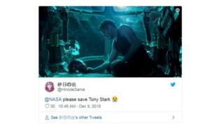 Fans plead with NASA to save stranded Tony Stark