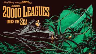 "Póster de la película de Disney ""Veinte mil leguas de viaje submarino"""