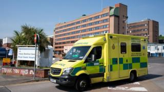 An ambulance outside the Royal Gwent Hospital in Newport