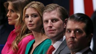 This photo shows family members of Presidential-elect Donald Trump, (from L-R) wife Melania Trump, daughter Ivanka Trump, and sons Eric Trump and Donald Trump Jr.