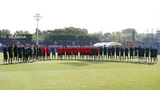 FC Barcelona holding a minute's silence