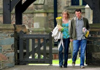 in_pictures Kate and Gerry McCann leave church in Rothley, Leicestershire, after a service to mark the first anniversary of their daughter's disappearance
