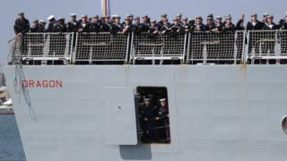 The crew of HMS Dragon returning to Portsmouth