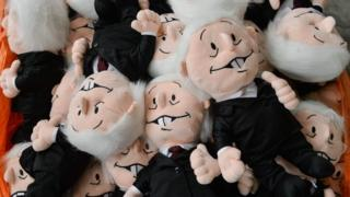 Picture of puppets of the Mexican left presidential candidate Andres Manuel Lopez Obrador, taken in a cuddly toy factory in Xonacatlan, state of Mexico, on June 19, 2018.