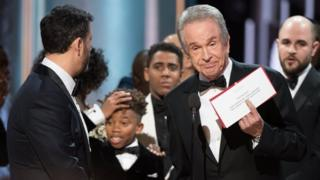 The cast of 'La La Land' mistakenly awarded the Oscar for Best Picture from presenters Faye Dunaway and Warren Beatty during the 89th annual Academy Awards ceremony at the Dolby Theatre in Hollywood, California, USA, 26 February 2017. The Oscars were presented for outstanding individual or collective efforts in 24 categories in filmmaking.