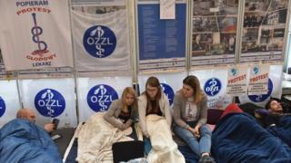 Striking doctors at the University Children's Hospital in Krakow, Poland
