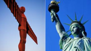 Angel of the north and statue of liberty