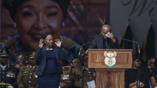 Julius Malema, leader of the Economic Freedom Fighters, reacts as he speaks during the funeral of anti-apartheid champion Winnie Madikizela-Mandela, at the Orlando Stadium in the township of Soweto