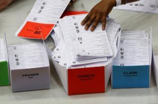 対照的に、労働党のコービン党首は「最高の選挙戦」を展開したようだとマー記者は言う。写真はロンドンの開票所で、「Corbyn(コービン)」氏の箱に積み上げられた投票用紙