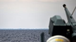 A view of the German navy frigate ship Werra patrolling in front of Libya coast