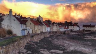 Pittenweem cottages at sunset