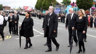 Sinn Féin's leader and deputy leader attended, along with former leader Gerry Adams (centre)