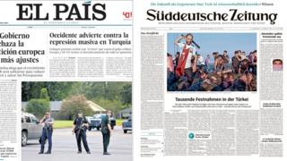 Composite Image of European front pages