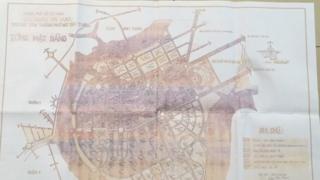 Bản chụp một tấm bản đồ được cho bản đồ quy hoạch 1996