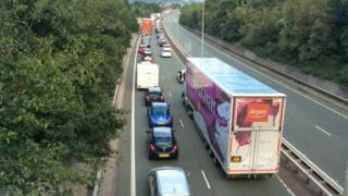 Queueing traffic on A55 Conwy