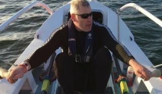 Alan Bustin-Mulkern in his rowing boat