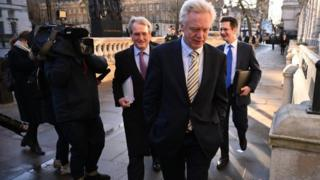 Former Brexit Secretary David Davis arriving at the Cabinet Office