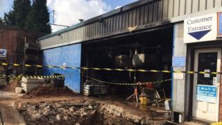 Smoke-damaged garage