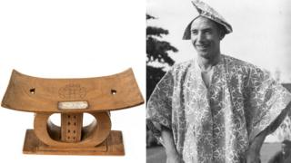 """Wooden """"throne"""" and Sir Stanley Matthews"""