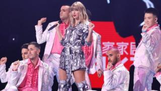 Singer Taylor Swift performs on the stage during the gala of 2019 Alibaba 11.11 Global Shopping Festival at Mercedes-Benz Arena on November 10, 2019 in Shanghai, China. (