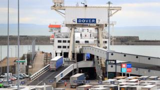 Lorries board at the Port of Dover