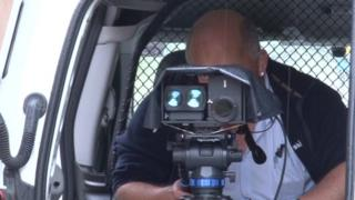 Camera being used on Cambridgeshire guided busway