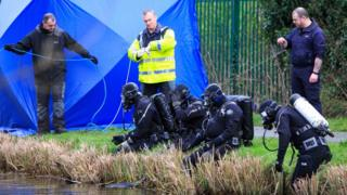 Divers at the scene of the incident in Ardclough, County Kildare
