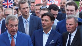 Michael Heaver (right hand corner) with Nigel Farage