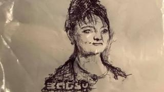 Image of Plaid Cymru leader Leanne Wood drawn by Bagsy on a carrier bag