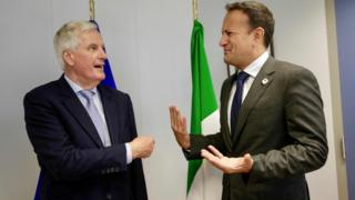 EU chief Brexit negotiator Michel Barnier Leo Varadkar meet on the sidelines of an European Council Summit in Brussels on 20 June