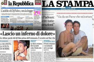 Italian newspaper front pages featuring DJ Fabo