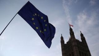 An EU flag outside parliament in London