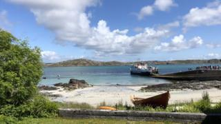 A picture of the Iona Ferry, looking over to Mull, taken on the afternoon of the Summer solstice