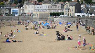 Sunbathers enjoy the hot weather at Weston-super-Mare on Wednesday 20 May