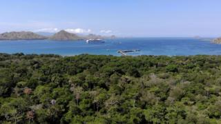 Cruise ship in the bay of Komodo