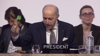 ファビウス議長が「パリ協定」の採択を宣言した瞬間