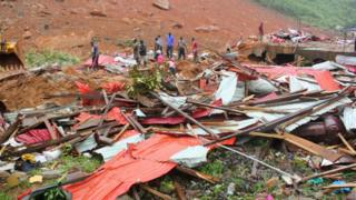 Damaged houses in Freetown