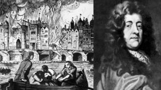 Pepys alongside an illustration of the Great Fire of London.