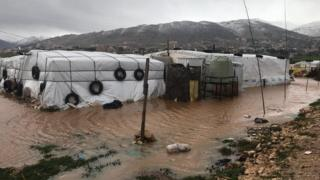 Flooded refugee camp in Lebanon