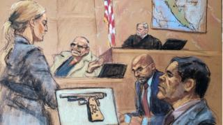 Drawing showing courtroom with witness Jesus Zambada and Joaquin 'El Chapo' Guzman