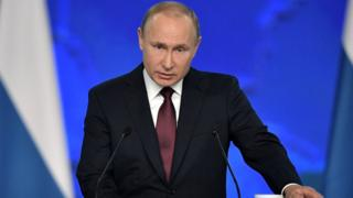 Russia's President Vladimir Putin giving a speech to the Federal Assembly, February 2019