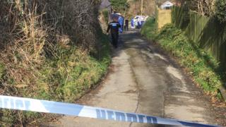 Police tape outside house in Aberaeron
