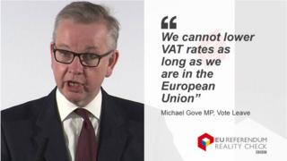 """Michael Gove MP saying: """"We cannot lower VAT rates as long as wer are in the European Union"""""""