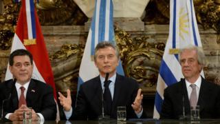 Horacio Cartes, Mauricio Macri y Tabaré Vázquez