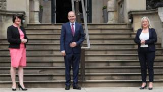 Micheal Martin meets First Minister Arlene Foster and Deputy First Minister Michelle O'Neill at Stormont Castle