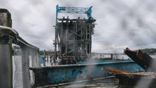 Arson damage at Dunston Staiths where a large section of timber is missing