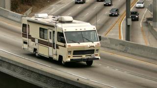 Stock image of a camper van, number plate blurred
