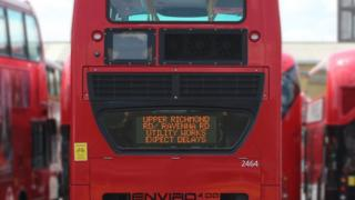 Travel information on back of bus