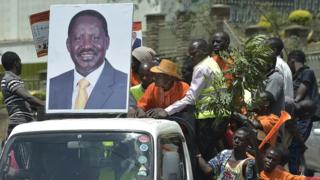 Party supporters of opposition leader Raila Odinga at a rally in Nairobi in April 2017