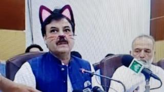 فعال شدن تصادفی یک نرم افزار: گوشهای صورتی و سبیل گربهای روی چهره سیاستمدار سرشناس پاکستانی در پخش زنده یک کنفرانس خبری